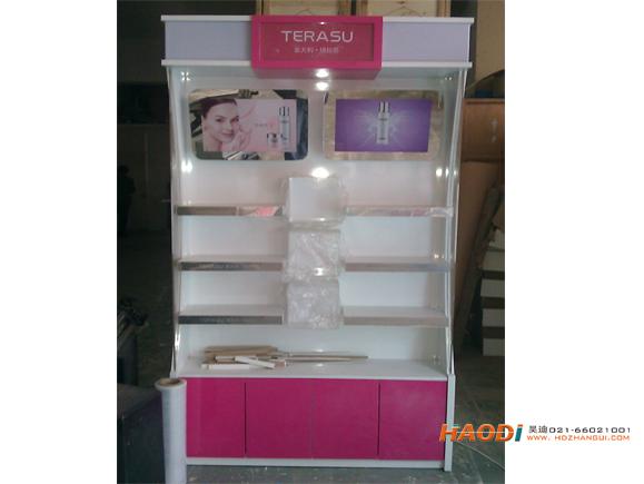 品牌化妆品展示柜红白搭配