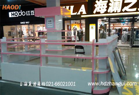 粉色烤漆展柜制作,过道设计包柱实地体验真实照片