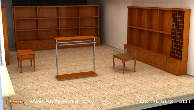 西服服装展柜实木贴皮设计制作案例